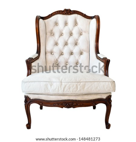Vintage luxury White Armchair isolated on white background