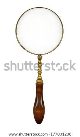 vintage magnifying glass isolated on white background - stock photo