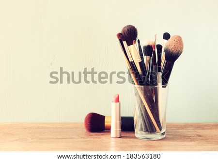 Vintage Make Up set. filtered image. - stock photo