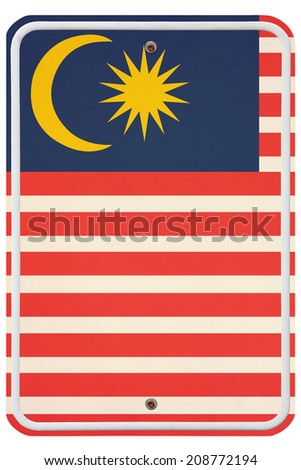 Vintage Malaysia metal sign - stock photo