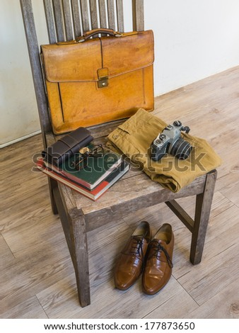 Vintage male bag and accessory - stock photo