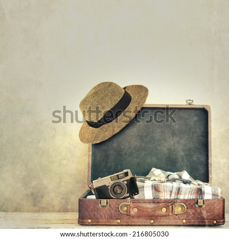 Vintage male travel set  - stock photo