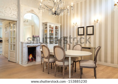 Vintage mansion - a luxurious dining corner in a retro apartment - stock photo