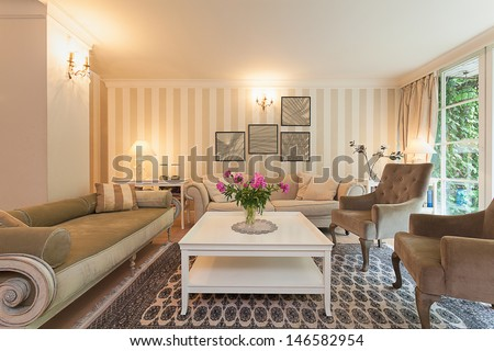 Vintage mansion - a retro design in an elegant living room - stock photo