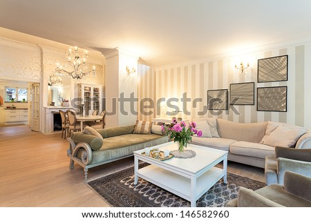 Vintage mansion - a stylish ground floor apartment in beige - stock photo