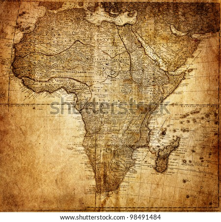 vintage map Africa (  mapmaker:?HAAS Johann Matthias ( Hasio ) , publisher: Homannianorum H, 1737 Nuremberg  Germany) - stock photo