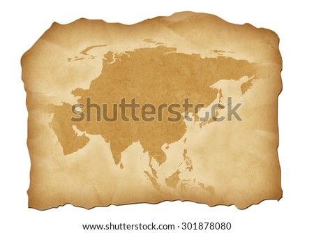Vintage map of Asia with antiqued edges. Isolated image illustration. - stock photo
