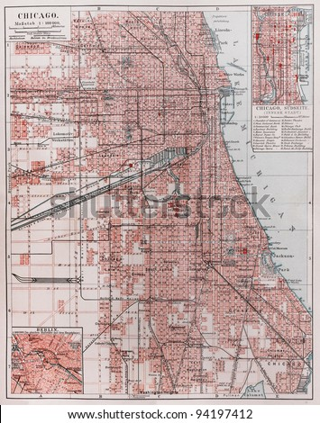 Vintage map of Chicago at the beginning of 20th century -  Picture from Meyers Lexicon books collection (written in German language ) published in 1906 , Germany.