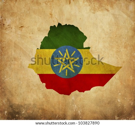 Vintage map of Ethiopia on grunge paper - stock photo