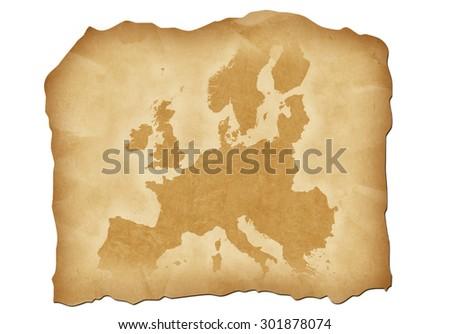 Vintage map of Europe with antiqued edges. Isolated image illustration. - stock photo