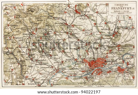 Vintage map of Frankfurt area from the beginning of 20th century - Picture from Meyers Lexicon books collection (written in German language ) published in 1908 , Germany.