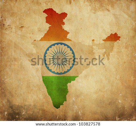 Vintage map of India on grunge paper - stock photo