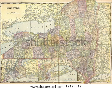 Vintage 1896 map of New York state; out of copyright - stock photo