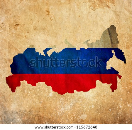 Vintage map of Russia on grunge paper - stock photo