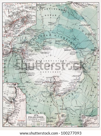 Vintage map of South Pole at the beginning of 20th century - Picture from Meyers Lexicon books collection (written in German language) published in 1908, Germany.