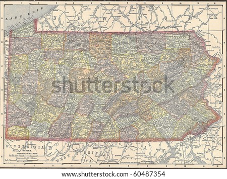 Vintage 1891 map of the state of Pennsylvania; out of copyright