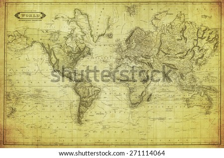 vintage map of the world 1831  - stock photo