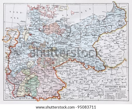 Vintage map representing German Reich at the end of 19th century - Picture from Meyers Lexicon books collection (written in German language ) published in 1906 , Germany.