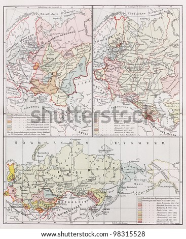 Vintage map representing the territory of Russia through medieval history -  Picture from Meyers Lexicon books collection (written in German language ) published in 1909, Germany.