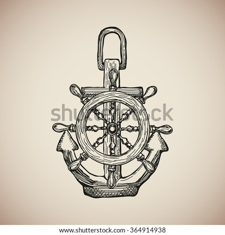 Vintage Marine Anchor with Steering Wheel isolated engrave. illustration - stock photo