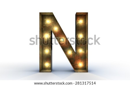 Vintage marquee light N alphabet sign, typography isolated on white background - stock photo