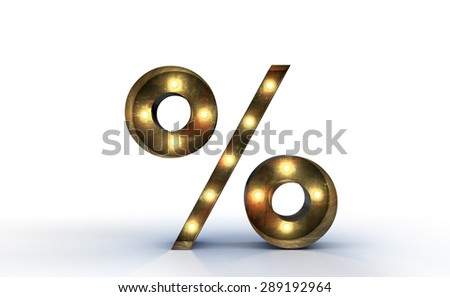 Vintage marquee light percentage 3D sign, typography isolated on - stock photo