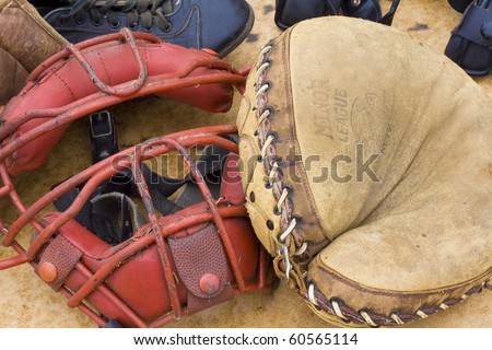 vintage mask and glove - stock photo