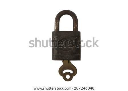 vintage master key on white background - stock photo
