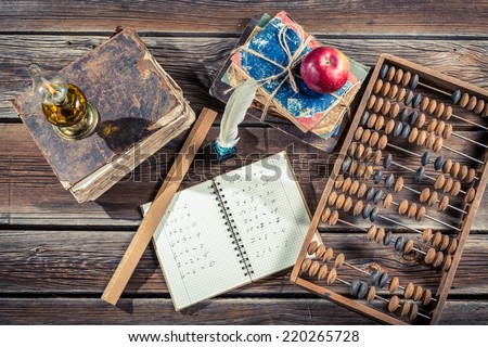 Vintage mathematics classes in school - stock photo