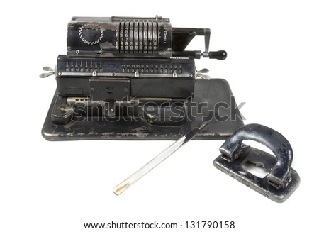 Vintage mechanical adding machine
