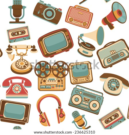 Vintage media gadgets colored seamless pattern with vintage electronic devices  illustration - stock photo