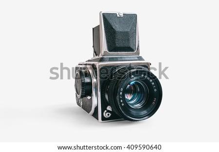 Vintage medium format film camera on white isolated background - stock photo