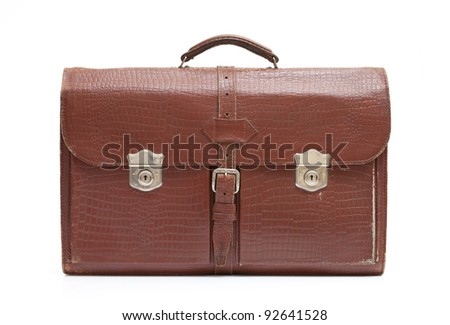 Vintage men's leather bag on white background