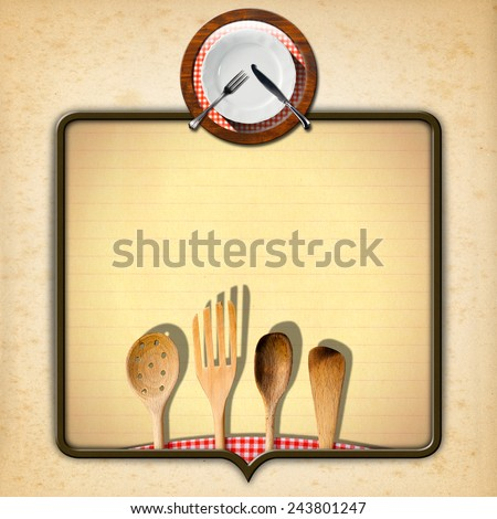 Vintage Menu Design. Old yellowed paper with spots, brown frame with lined paper, wooden kitchen utensils, white plate with cutlery and checked tablecloth. Template for recipes or a food menu