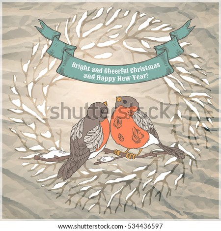 Vintage Merry Christmas greeting card with linear handdrawn bullfinches and ribbon. New year design