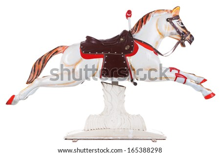 Vintage merry go round horse isolated on white - stock photo