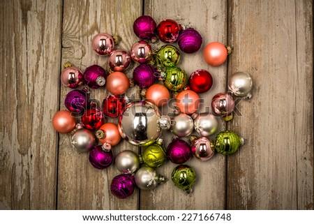 vintage mess of christmas balls - stock photo