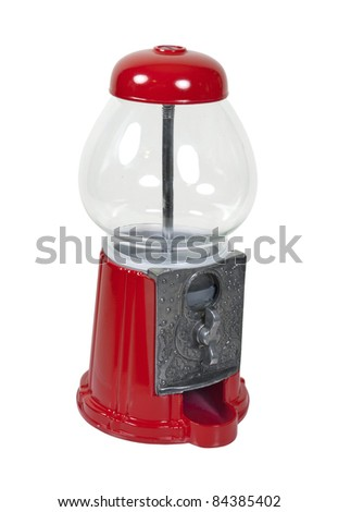 Vintage metal and glass candy dispenser - path included - stock photo