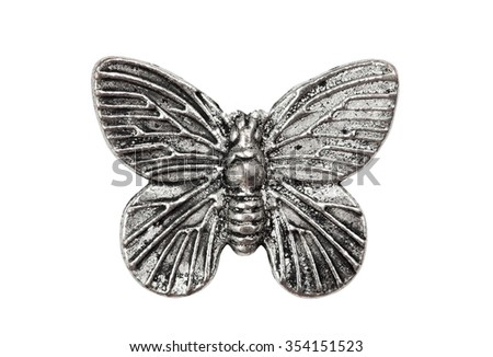 Vintage metal butterfly, isolated on white