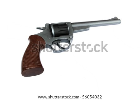vintage metal colt revolver isolated on white background