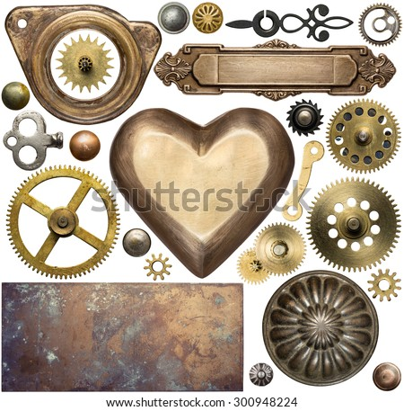 Vintage metal details, textures, clock gears. Steampunk design elements. - stock photo