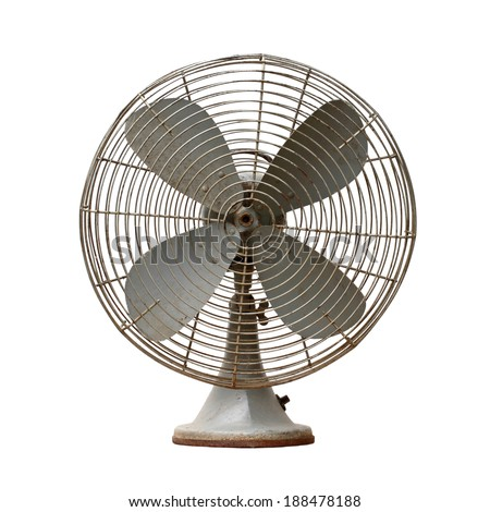 vintage metal fan isolated on white background - stock photo
