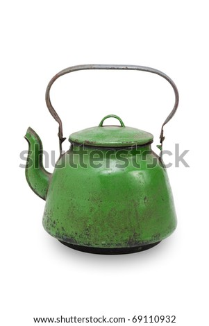 Vintage metal kettle, isolated on white - stock photo