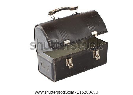 Vintage metal lunch box, half open, black with silver latches and handle. - stock photo