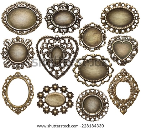 Vintage metal medallion frames, isolated. - stock photo