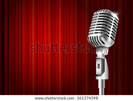 Vintage metal microphone against red curtain backdrop. mic on empty theatre stage, art image illustration. stand up comedian night show or karaoke party background . retro design Raster version - stock photo