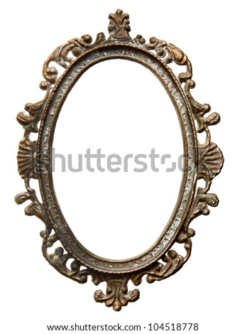 Vintage metal oval frame isolated on white background - stock photo