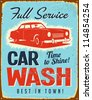 Vintage metal sign - Car Wash - JPG Version - stock vector