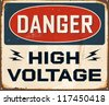 Vintage Metal Sign - Danger High Voltage - JPG version - stock vector