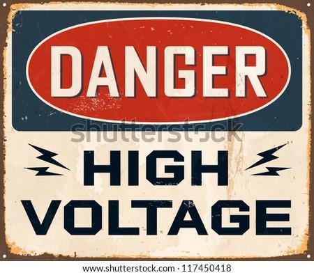 Vintage Metal Sign - Danger High Voltage - JPG version - stock photo